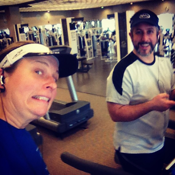 Running on dueling treadmills. #trainingwithanExpert