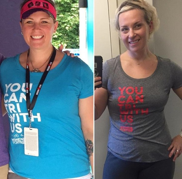 Meredith Atwood in May 2015 (left) and in February 2017 (right)