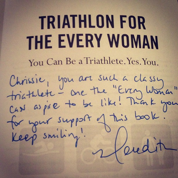 How do I adequately sign one of my books for THE Chrissie Wellington??! Holy guacamole. ☺ #guessthiswilldo #swimbikemom #sbmthebook #justkeepmovingforward