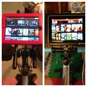 Dueling iPads.  SBM friend, Katherine, sent me her picture (on the right)... love it. Aero bars are excellent iPad holders.